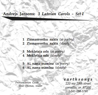three latvian carols set 1 pronunciation cd