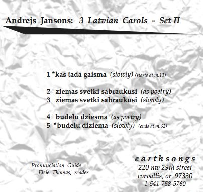 three latvian carols set 2 pronunciation cd
