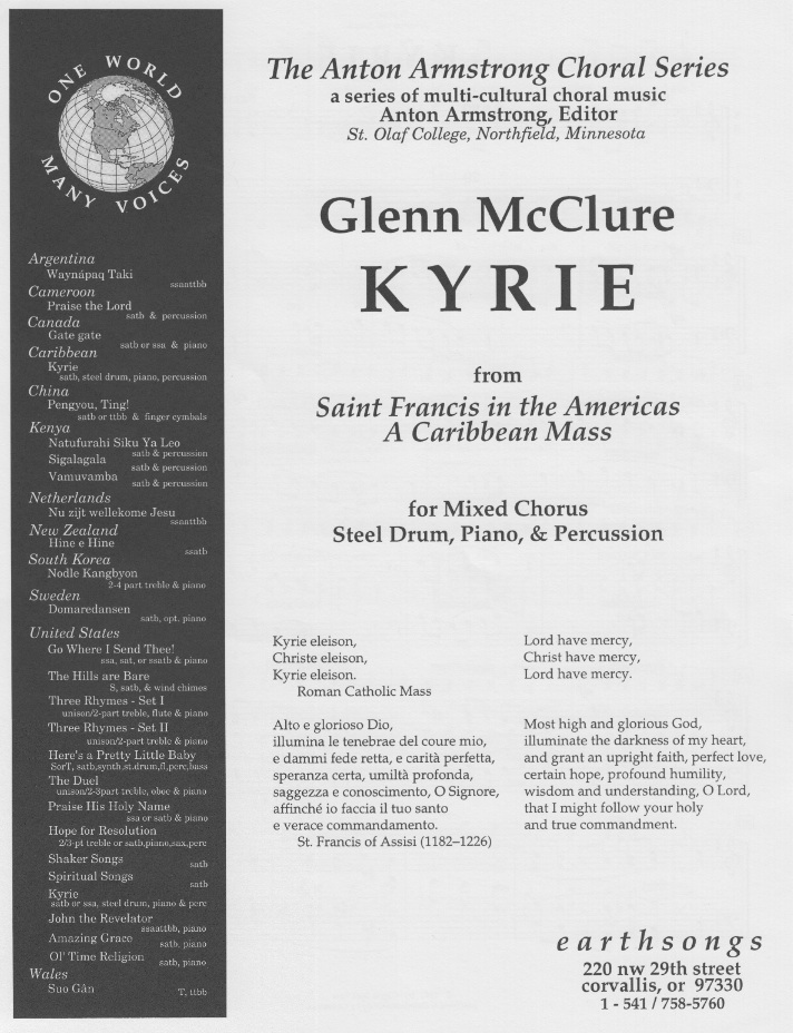 kyrie (ssa) (mcclure) [S-165] - $1 70 : earthsongs, one world · many