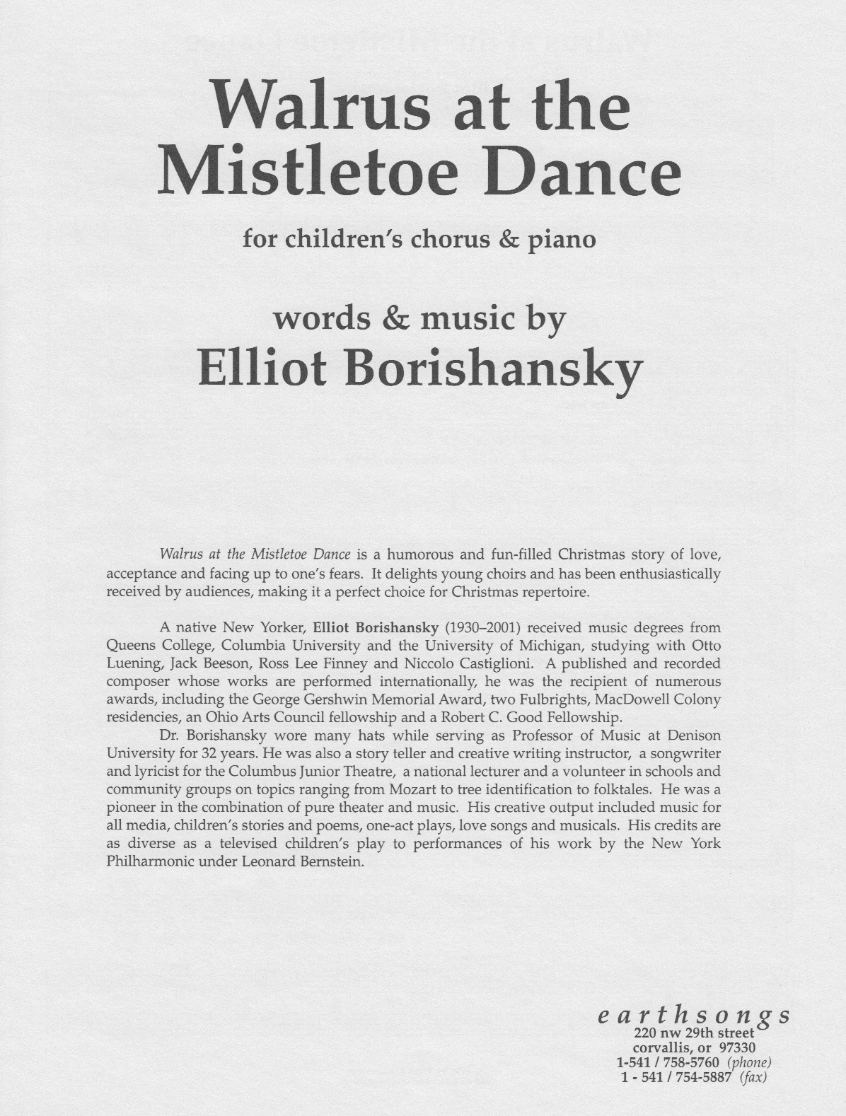 walrus at the mistletoe dance (sa) (pdf if ordered for choir)