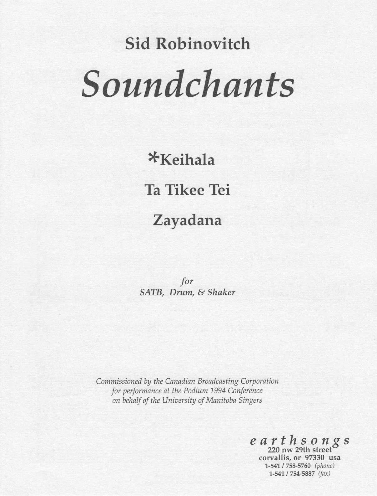 keihala (satb) (pdf if ordered for entire choir)