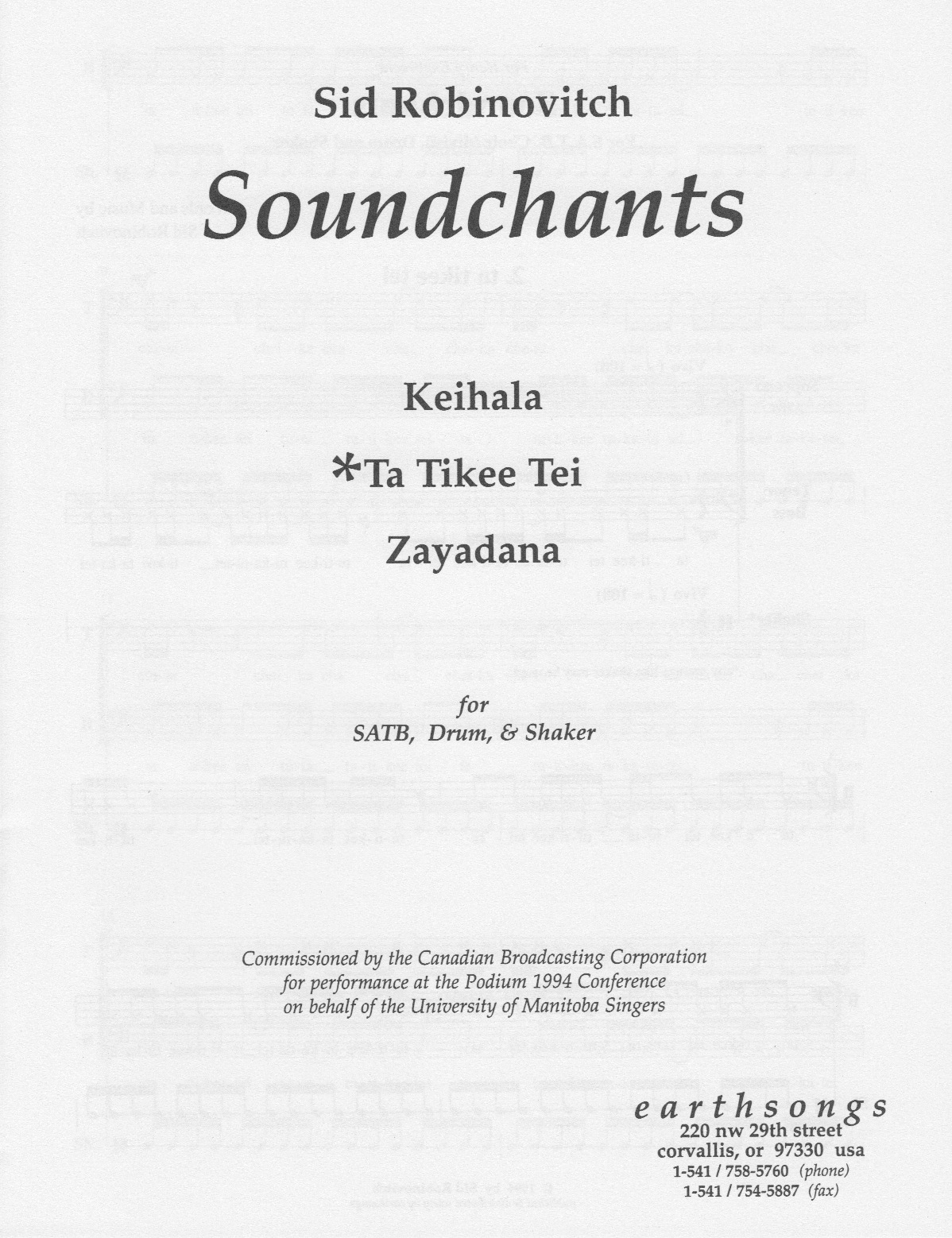 ta tikee tei (satb) (pdf if ordered for entire choir)