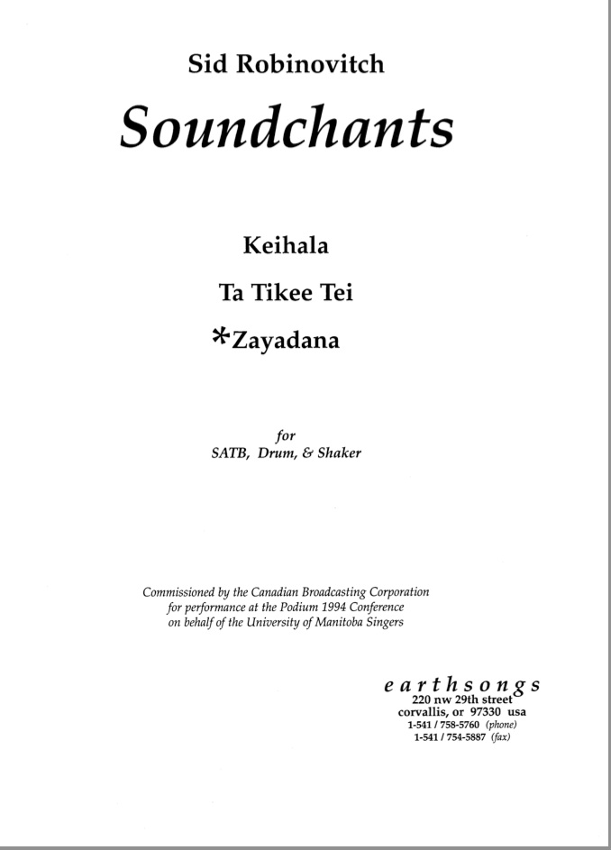 zayadana (satb) (pdf if ordered for entire choir)