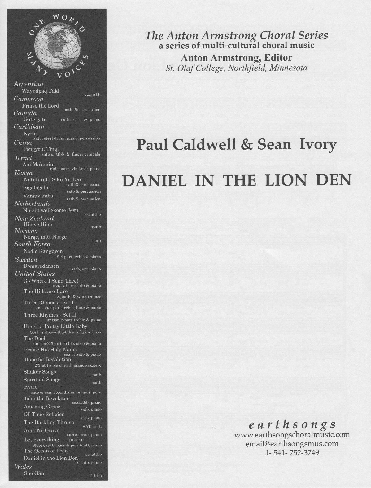 daniel in the lion den (ssatb)