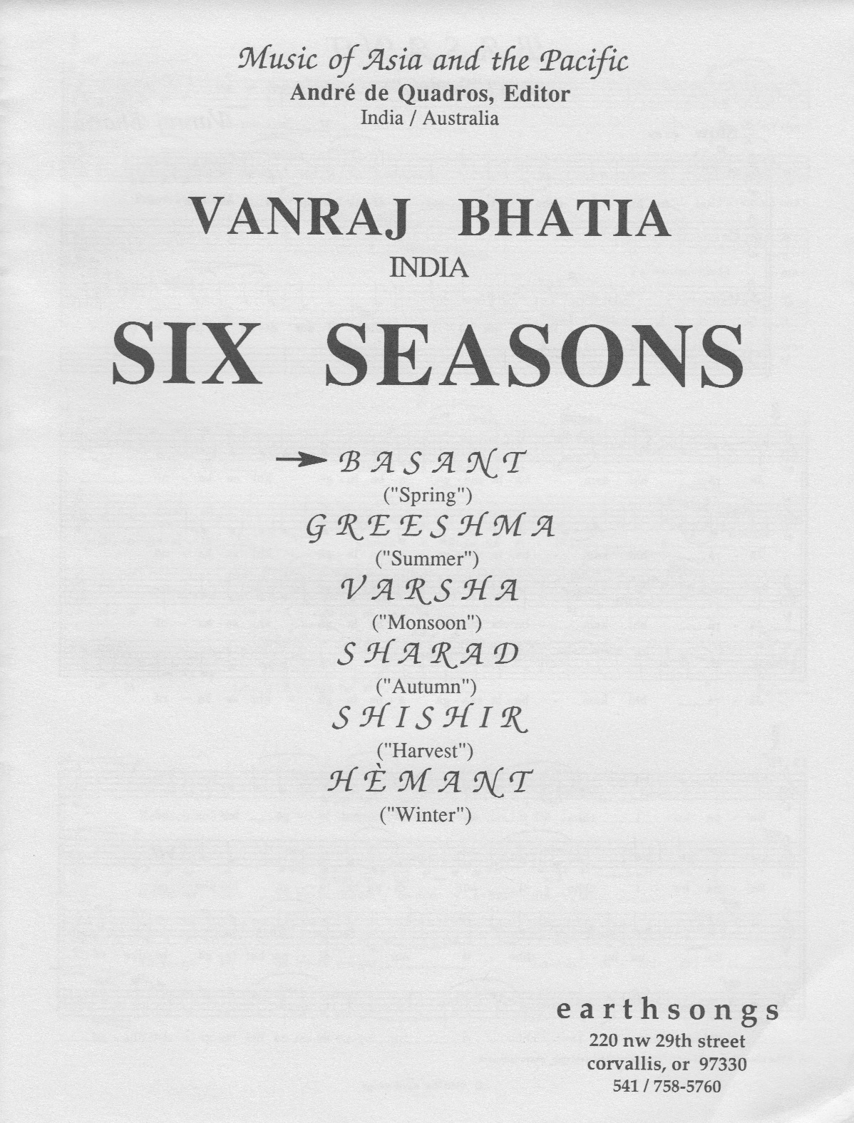 basant (satb) [S-41a] - $1 90 : earthsongs, one world · many voices