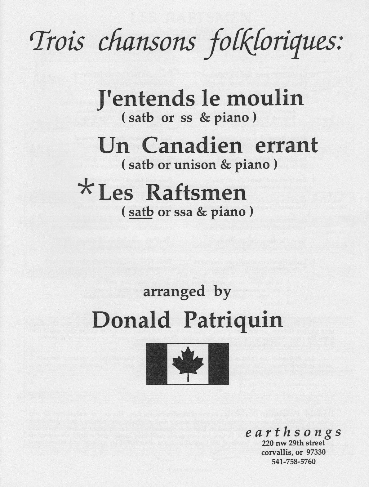 les raftsmen (satb) (pdf if ordered for entire choir)