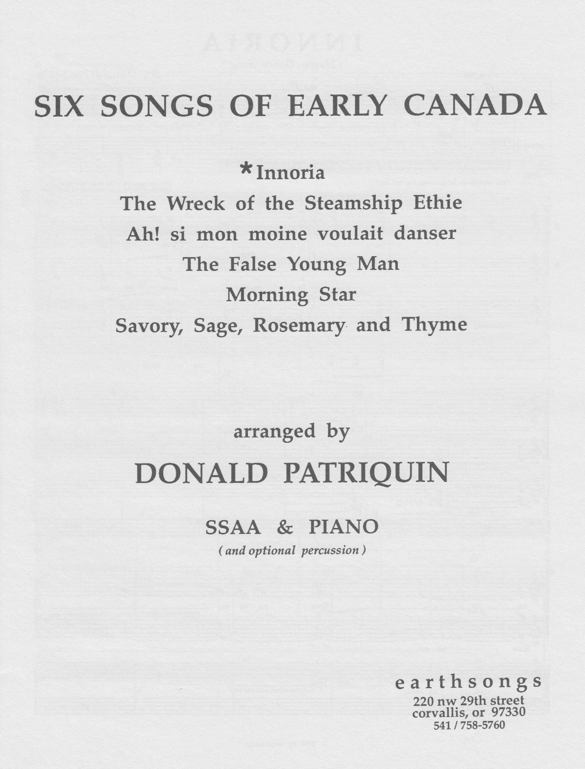 songs of early canada (ssa)
