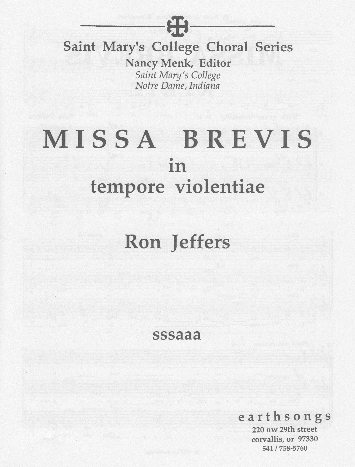 missa brevis: gloria (jeffers) (sssaaa)