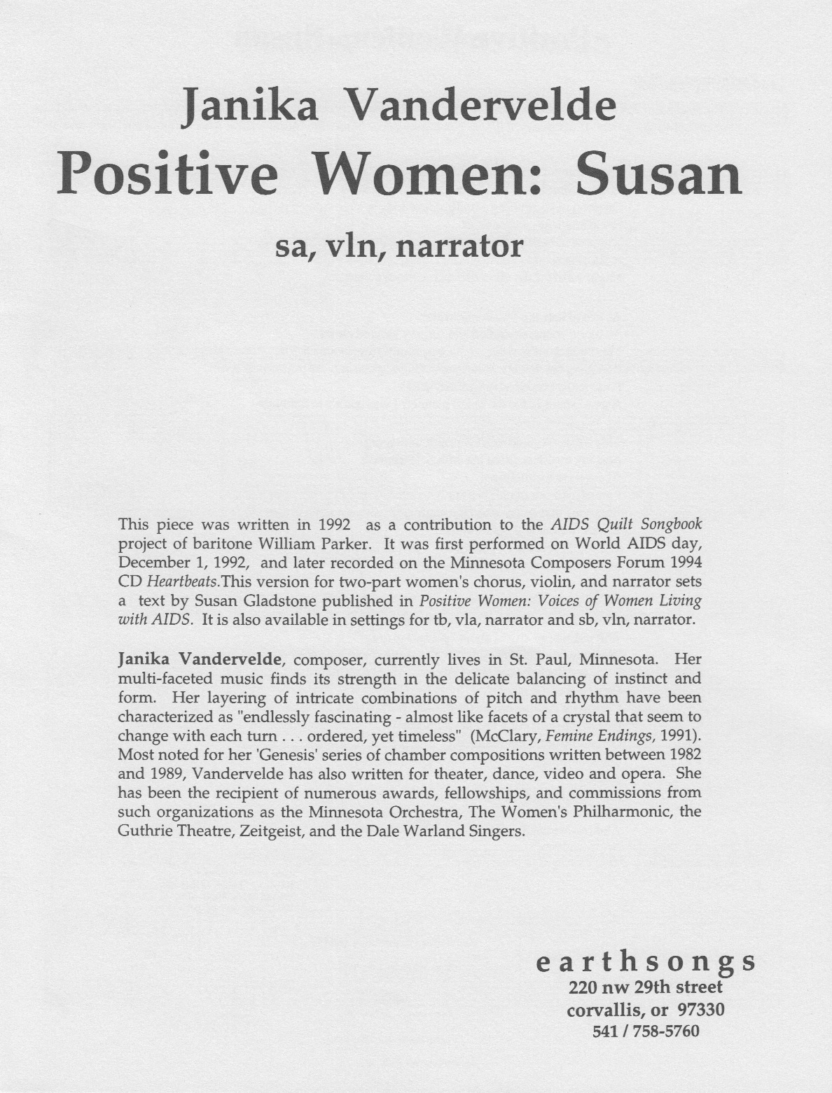 positive women: susan (sa) (pdf if ordered for entire choir)